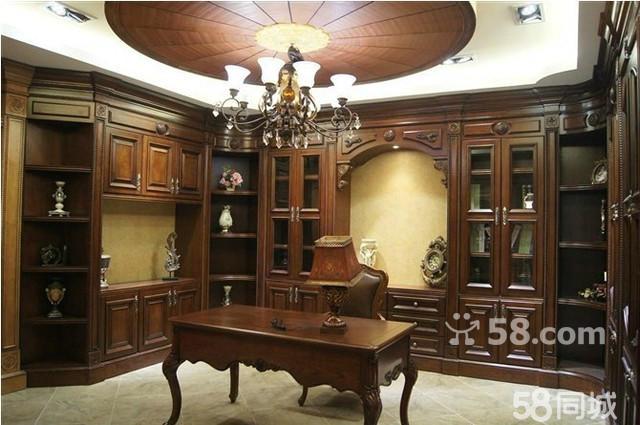 护墙板顶角线效果图-实木整体书柜