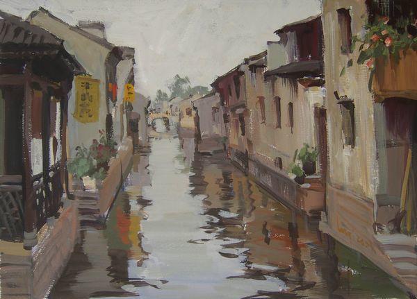 壁纸 风景 古镇 建筑 街道 旅游 摄影 小巷 油画 600_431