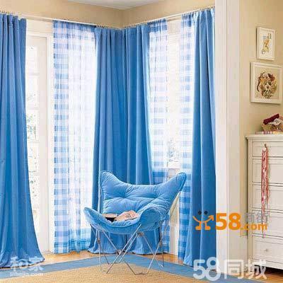 卧室浅蓝色 亚麻田园风格窗帘